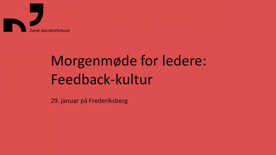 Morgenmøde for ledere: Feedback-kultur